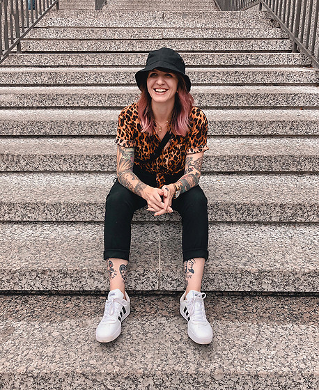 Jessie Bee - Amazon Bucket Hat, Uniqlo Ankle Length Pants, Forever 21 Leopard Print Shirt, Adidas Court Sneaker, Uniqlo Single Strap Backpack - Bucket List