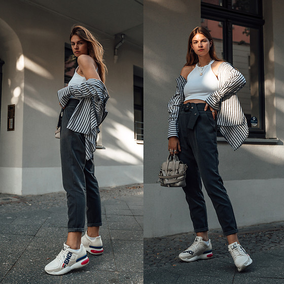 Jacky - Zara Top, Reclaimed Vintage Shirt, Minimum Pants, 3.1 Phillip Lim Bag, Fendi Sneakers - Autumn Outfit: Grey Pants combined with a Striped Shirt