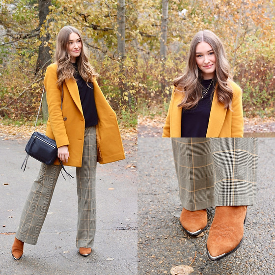 Taylor Doucette - Babaton Mustard Yellow Wool Coat, Aritzia Black Turtleneck, Aritzia Yellow Check Trousers, Marc Fisher Suede Boots, Allsaints Black Crossbody Purse - Lose You To Love Me - Selena Gomez