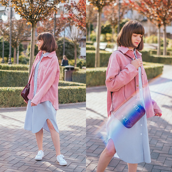 Christina & Karina Vartanovy - Popjulia Casual Corduroy Jacket In Pink, Popjulia Blue Long Sleeve Midi Shirt Dress, The Leather Satchel Patent Oxblood Mini, Tommy Hilfiger White Trainers - Christina // colour spectrum