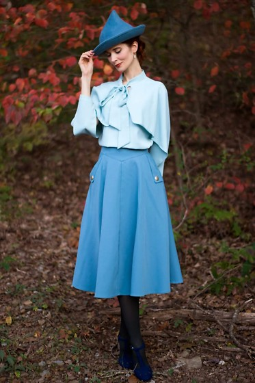 Bleu Avenue - Chic Wish Classic Simplicity A Line Midi Skirt In Blue, Chic Wish Crush On Casual Bowknot Cape Sleeves Top In Blue, Qupid The Zest Is History Heels - Harry Potter's Fleur Delacoeur Cosplay Halloween Costume