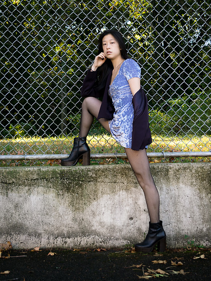 Gi Shieh - Raided Mom's Closet Purple Blazer Jacket, Urban Outfitters Periwinkle Crushed Velvet Dress, H&M Black Fishnet Tights, Aldo Black Platform Boots - Periwinkle Purple