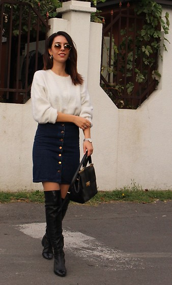 Jelena - H&M Fluffy Sweater, Ray Ban Round Sunglasses, Parfois Golden Earrings, Asos Button Down Skirt, Michael Kors Leather Bag, Zara Over The Knee Boots - Button down skirt