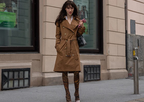 Veronika Lipar - Ganni Tiger Print Stockings, Burberry Cookie Camel Taffeta Trench Coat, Gianvito Rossi Plexi Pumps - Edgy Neutral Look for Every Day