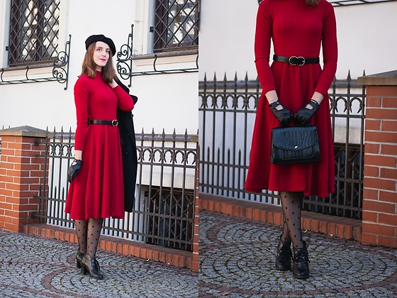 Ewa - Shein Red Midi Dress - La Parisienne