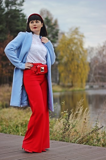Moda_i_takie_tam - Reserved Blue Coat, Reserved Crochet Blouse, Reserved Red Palazzo Pants - Hydrangea