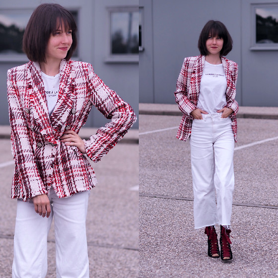 Claire H - Zara Tweed Blazer, Lyvem Shirt, H&M Cropped Pants, Tabitha Simmons Heels - Because I'm happy!