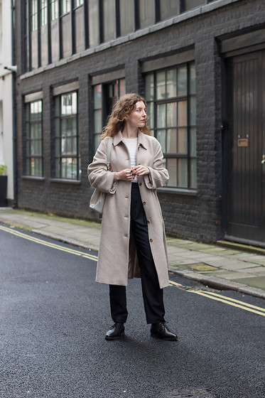Summer R - & Other Stories Oversize Wool Coat, Arket High Waist Tapered Wool Trousers, Vegan Lace Up Shoes - Cosy Oversize Coat