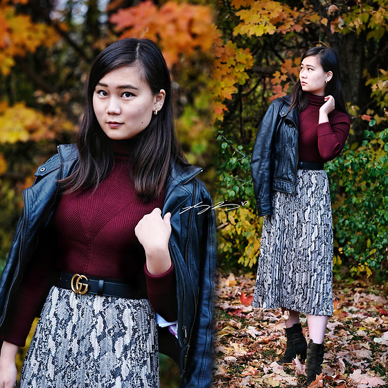 L Z - Ted Baker Leather Jacket, Zara Turtleneck, Gucci Belt, H&M Pleated Skirt, Vintage Booties - Leather & snakeskin