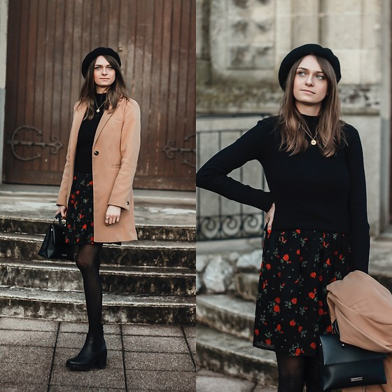 Audrey - Primark Jacket, Bershka Turtleneck, Kiabi Dress, H&M Beret - Autumn outfit