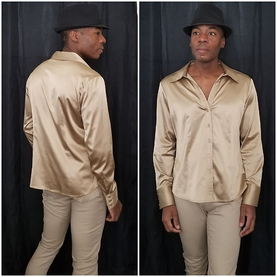 Thomas G - Faded Glory Fedora, New York & Company Satin Blouse, Rico Jean, Inc Jeggings - Fedora + Satin blouse + Jeggings