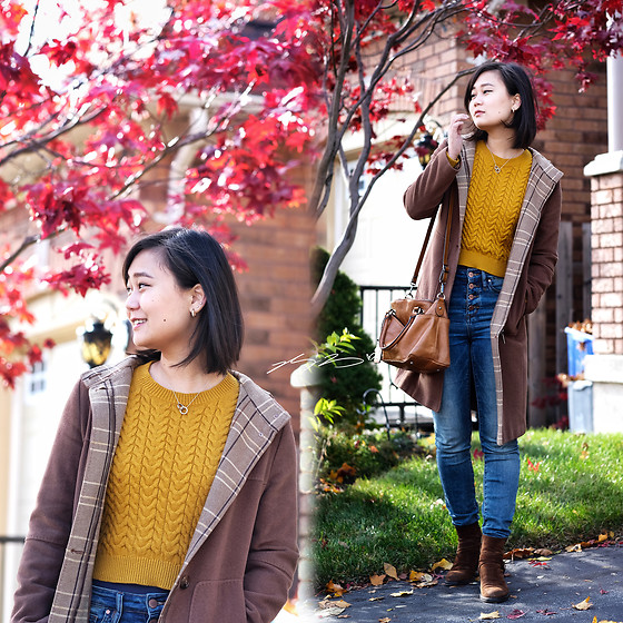L Z - Vintage Coat, Banana Republic Sweater, Rw&Co High Rise Jeans, Aquatalia Booties - Mustard sweater and Japanese maple