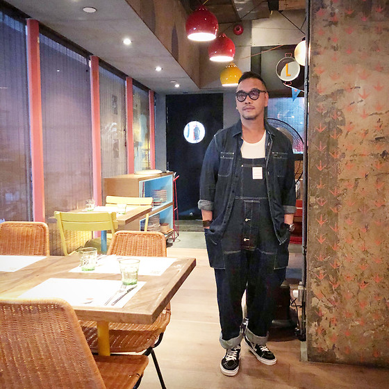 Mannix Lo - Levi's® Denim Shirt, Nigel Cabourn Denim Dungaree, Vans Sk8 Hi Sneakers - What's coming is better than what's gone