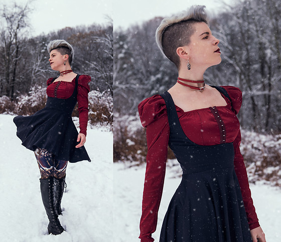Carolyn W - Femme Luxe Red, Black Milk Clothing Underbust, Black Milk Clothing Last Judgement, Jeffrey Campbell Shoes Knee High, Hermès Choker - Winter is Here