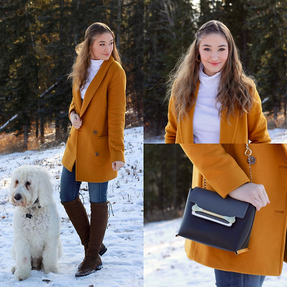 Taylor Doucette - Aritzia Mustard Yellow Reeves Wool Coat, Everlane White Cotton Turtleneck, Citizens Of Humanity Rocket Skinny Jeans, Zara Over The Knee Boots, Chloé Crossbody Clare Bag - Liquor Store on Mars - Kelsy Karter