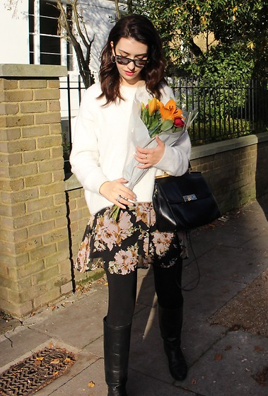 Jelena - H&M Fluffy Sweater, Vero Moda Floral Dress, Ray Ban Wayfarer Sunglasses, Michael Kors Black Leather Bag, Mango Black Leather Boots - Sweaters on floral dresses