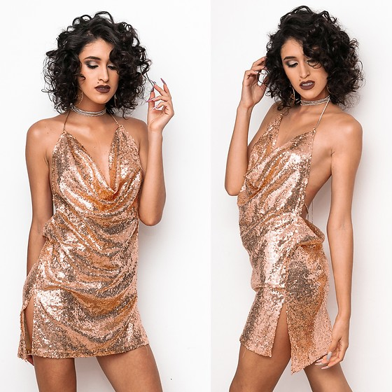 Andrea Chavez - Yoins Golden Sequins Dress - Golden Dress