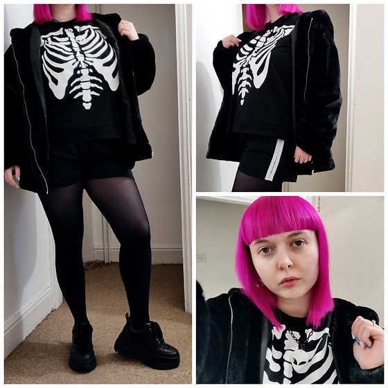 April Willis - Schuh Black Starlet Platform Trainers, H&M Black Skeleton Top, New Look Fake Fur Hooded Jacket, M&S Weather Changing Tights, Select Girl Power Shorts, Alien Head Necklace, Manic Panic Hot Hot Pink Hair Dye - Skelly