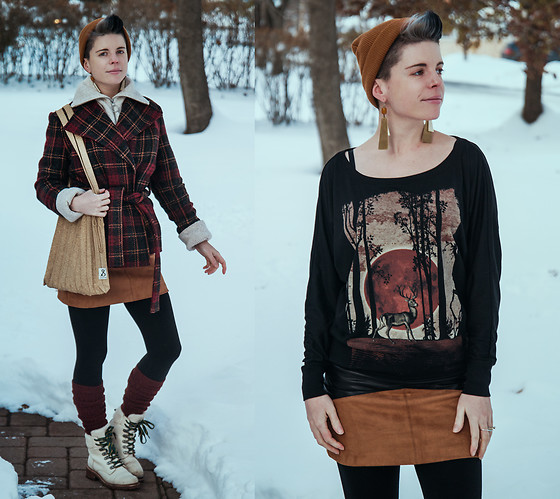 Carolyn W - Mustard, Thrifted Plaid, H& White, Curbside Clothing Deer, Joseph & Stacey Gold, Vipshop Two Tone, Uniqlo Leg Warmers, The Frye Company Snowy - The Cold Days