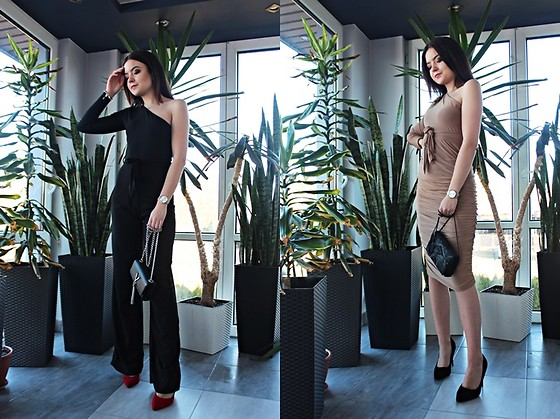 Sabina S. -  - BLACK JUMPSUIT & BEIGE DRESS