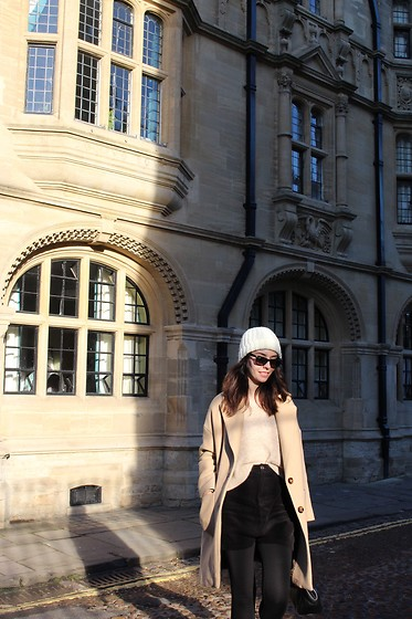 Jelena - Mango White Wool Hat, Zara Camel Coat, H&M Beige Chunky Sweater, New Look Black Cord Skirt, Ray Ban Wayfarer Sunglasses, Michael Kors Leather Bag - Corduroy skirt