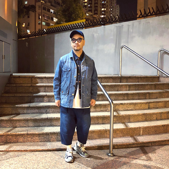 Mannix Lo - Online Shop Patchwork Denim Coverall, A Land Denim Jacket, Cotton On Tee, Madness X New Balance 990v2 Sneakers - Slow Success, Build Characters. Fast Success, Build Ego