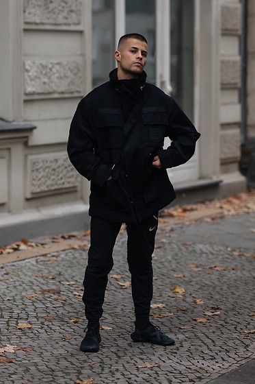 Kevin Elezaj - Nike Sneakers, Nike Pants, G Star Raw Jacket - All Black
