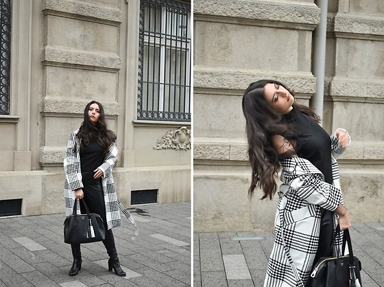 Jelena Dimić - Shein Plaid Coat, Shein Organza Sleeve Blouse, Esmara Faux Leather Leggings, Guess Bag - You are with me and you comfort me
