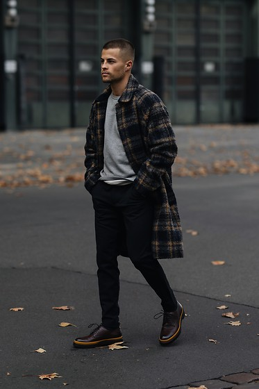 Kevin Elezaj - Hugo Boss Shoes, Hugo Boss Pants, A.P.C. Sweater, Hope Coat - Checks