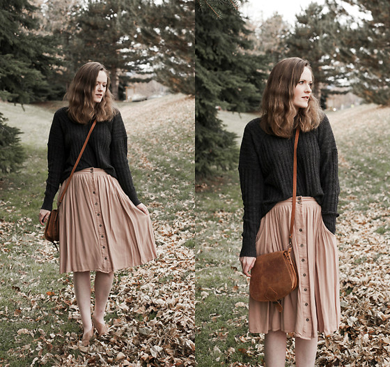 Emily S. - American Eagle Outfitters Knit Sweater, Main Street Exchange Midi Skirt, Free People Royale Flats, Etsy Leather Bag - Spring in December