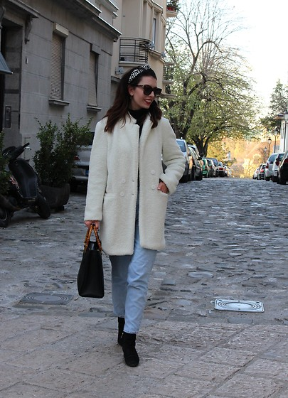 Jelena - Brave Soul Teddy Coat, H&M Headband, Gucci Sunglasses, Gucci Vintage Bag, Zara Mom Jeans, Sam Edelman Ankle Boots, Gap Black Turtleneck - Teddy coat & mom jeans
