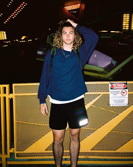 Caleb Paulson - Adidas Short Black Shorts, Walmart Blue Self Crop, Walmart Oversized White T, H&M Necklace, Chanel Blue Nail Polish, H&M Hanging Earring - Summer coaster