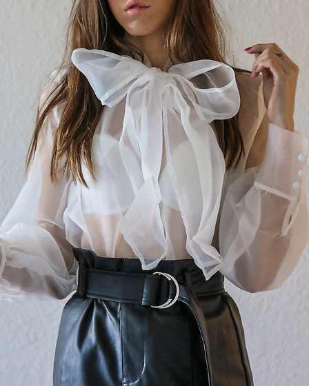 Jenny M - Amazon Fashion Pussy Bow Organza Shirt, Forever 21 Leather Skirt - PUT A BOW ON IT // @thehungarianbrunette
