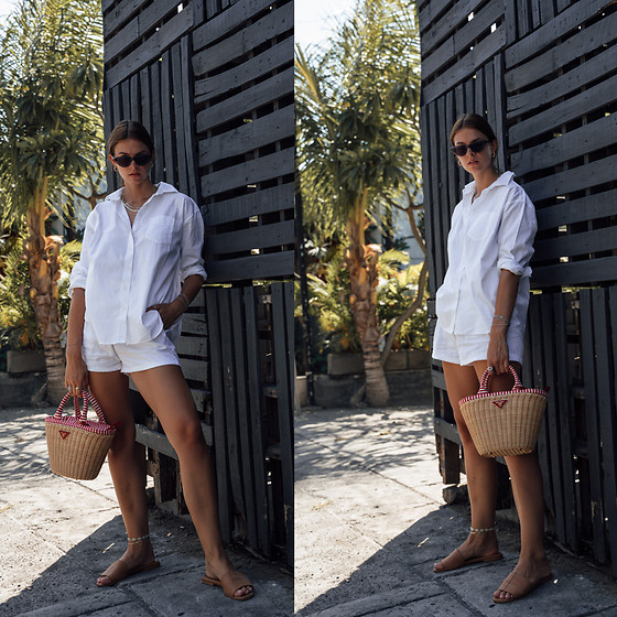 Jacky - Gant Shirt, Pull & Bear Shorts, Prada Basket Bag, Flattered Sandals - Combining a Prada basket bag with an all-white outfit