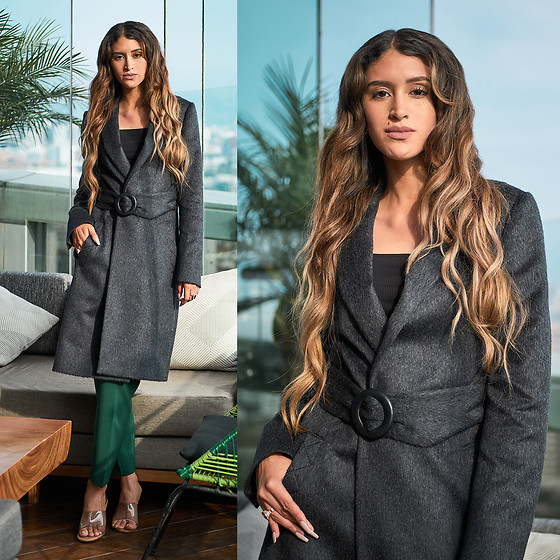 Andrea Chavez - Tom Gutie Grey Coat - Office inspo