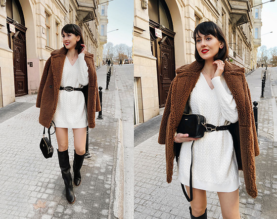 Daisyline . - Zara Knitted Dress, Mango Coat, Mango Belt - Teddy coat / IG: daisylineblog