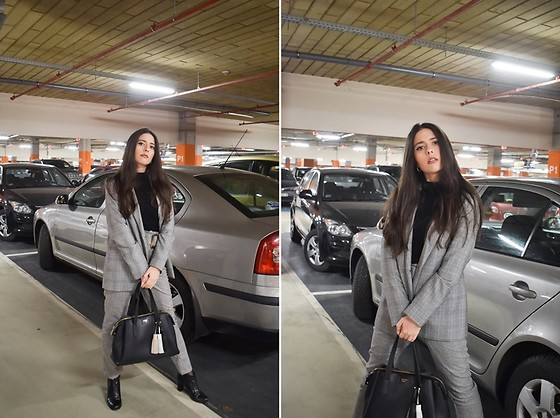 Jelena Dimić - Pull & Bear Houndstooth Blazer, San Love Black Turtleneck, Shein Houndstooth Trousers, Guess Bag - Would we crash and burn like every time before?