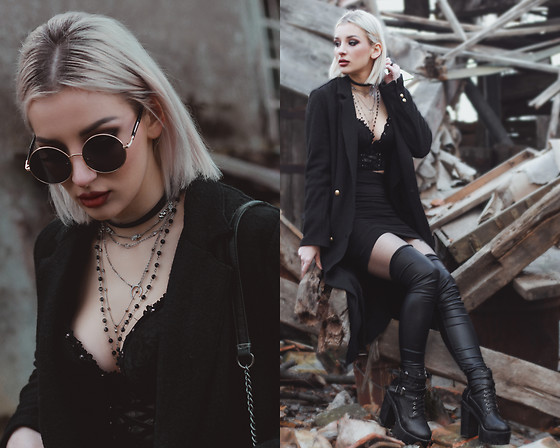 Emilyx Antidotex - Zara Long Military Coat, Corset Bralet, Over The Knee Leather Socks - I don't know