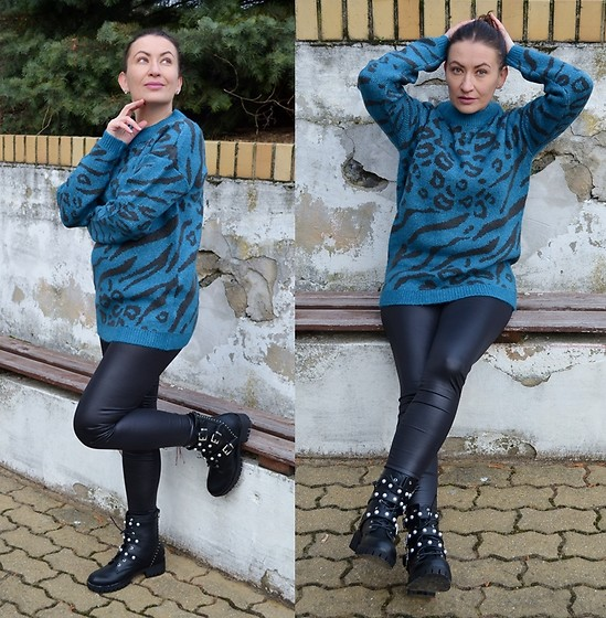 Adriana Style -  - Animal Print Sweater & Heavy Boots
