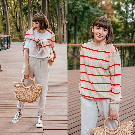Christina & Karina Vartanovy - Mango Striped Cotton Sweater, Lake White T Shirt, Popjulia Casual Shift Pants In Beige, Zaful Straw Tote Bag, Popjulia Leopard Print Canvas Sneakers - Christina // young, wild and free