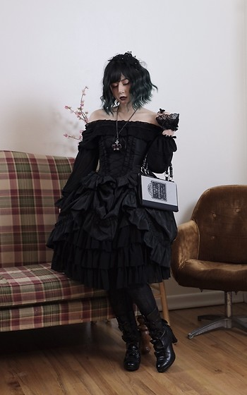 Lovely Blasphemy - Atelier Pierrot Black Bustle Dress, Alice And The Pirates Boots - Pain is inevitable, suffering is optional