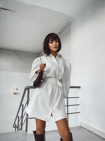 Krist Elle - Krist Elle, Kristina Doli, Elle Blogger Kristelle, Instagram, Faux Leather Puff Sleeve Mini Dress, Prada Re Edition Shoulder Bag Nylon Black -  White faux leather puff sleeve mini dress. krist elle