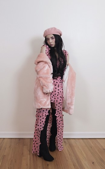 Lovely Blasphemy - Bubbles Pink Faux Fur Coat, For Love & Lemons Maison Maxi Dress, Dolls Kill Baddie Bae Thigh High Boots - Only the dead stay seventeen forever