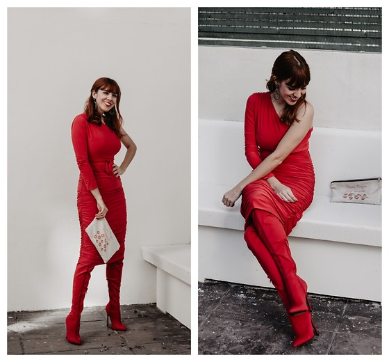 Mi Vida En Rojo - Femmeluxe Dress, Nasty Gal Boots, Mi Vida En Rojo Clutch - Self Love is First Love- Valentines Day!