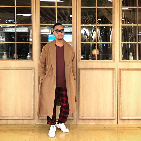 Mannix Lo - Dries Van Noten Long Coat, Uniqlo Long Sleeves Waffle Tee, Uniqlo Checkers Pants, Adidas Stan Smith Sneakers - What you hide in your heart, appears in your eyes