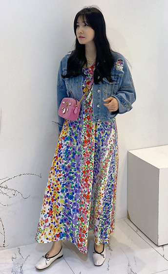 Miamiyu K - Miamasvin Frill Accent Floral Maxi Dress - Rainbow Effect