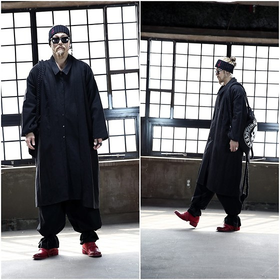 INWON LEE - Byther Over Sized Dress Shirt, Byther Legstring Wide Pants, Byther Logo Headband - Super Long Dress Shirt Outwear