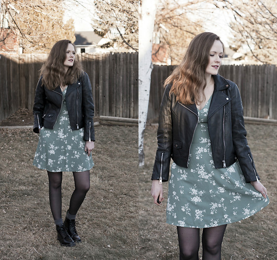 Emily S. - Zara Leather Jacket, Abercrombie & Fitch Floral Dress, Target Tights, Solovair Boots - Charcoal & Sage