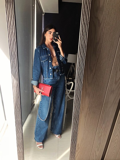 Mariana Garza - Stradivarius Jeans, Saint Laurent Bag, Zara Crop Top - Denim all over