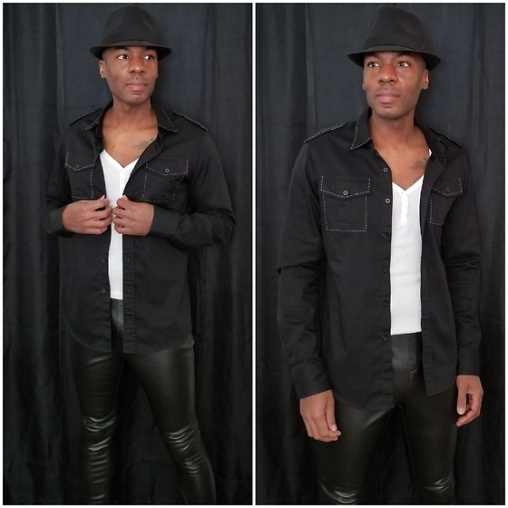 Thomas G - Faded Glory Fedora, Irreverent Button Down, Old Navy 3 Button V Neck 3/4 Sleeve, Faded Glory Faux Leather Pants - Fedora + Button-down + Faux leather